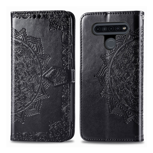 For LG K41S Embossed Mandala Pattern PC + TPU Horizontal Flip Leather Case with Holder & Card Slots & Wallet(Black) фото