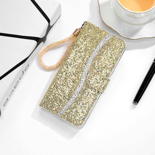 For Samsung Galaxy A10 / M10 Glitter Powder Horizontal Flip Leather Case with Card Slots & Holder & Lanyard(Gold) фото