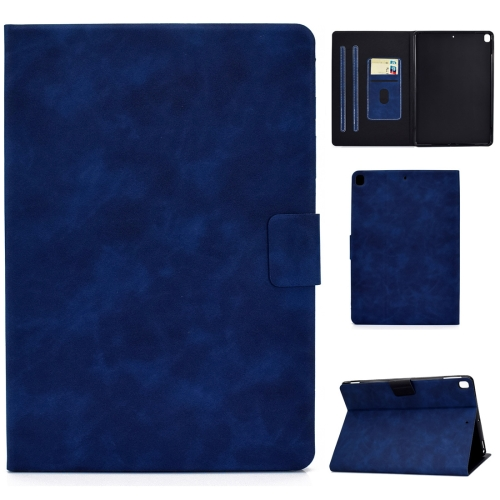 For iPad 10.2 / Air (2019) / Pro 10.5 Cowhide Texture Horizontal Flip Leather Case with Holder & Card Slots & Sleep / Wake-up Function(Blue)  - buy with discount