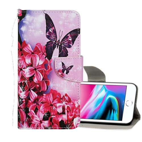 Sunsky For Iphone 8 7 Colored Drawing Pattern Horizontal Flip Leather Case With Holder Card Slots Wallet Red Flower Butterfly