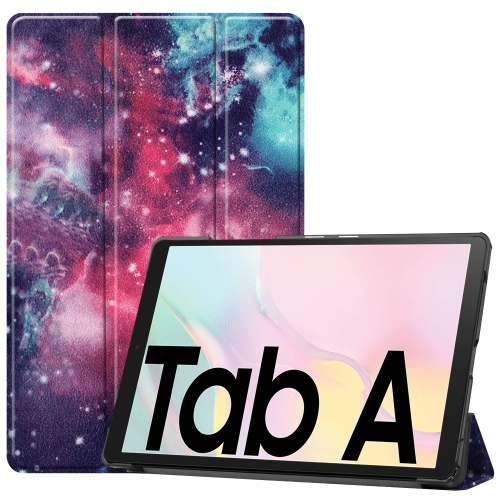For Samsung Galaxy Tab A7 2020 T500 Colored Drawing Pattern Horizontal Flip Leather Case with Three-folding Holder & Sleep / Wake-up Function(Milky Way Nebula)