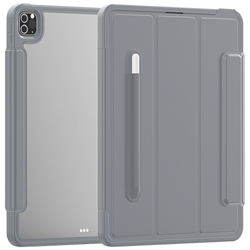 For iPad Pro 12.9 (2020) / (2018) Acrylic + TPU Horizontal Flip Smart Leather Case with Three-folding Holder & Pen Slot & Wake-up / Sleep Function(Grey)