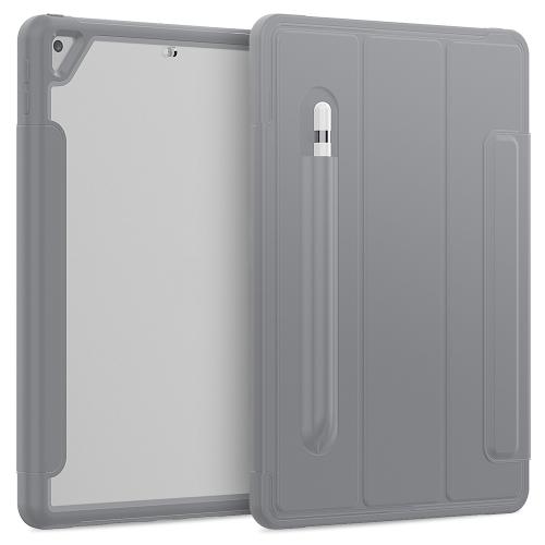 For iPad 10.2 / Air (2019) Acrylic + TPU Horizontal Flip Smart Leather Case with Three-folding Holder & Pen Slot & Wake-up / Sleep Function(Grey)