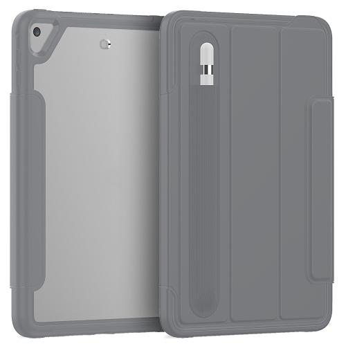 For iPad Mini 5 / 4 Acrylic + TPU Horizontal Flip Smart Leather Case with Three-folding Holder & Pen Slot & Wake-up / Sleep Function(Grey)