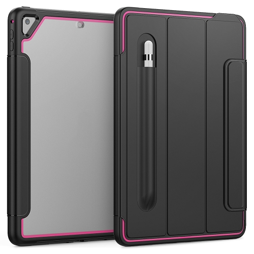 For iPad Air 2 / Air / 9.7 (2018 & 2017) Acrylic + TPU Horizontal Flip Smart Leather Case with Three-folding Holder & Pen Slot & Wake-up / Sleep Function(Rose Red+Black)