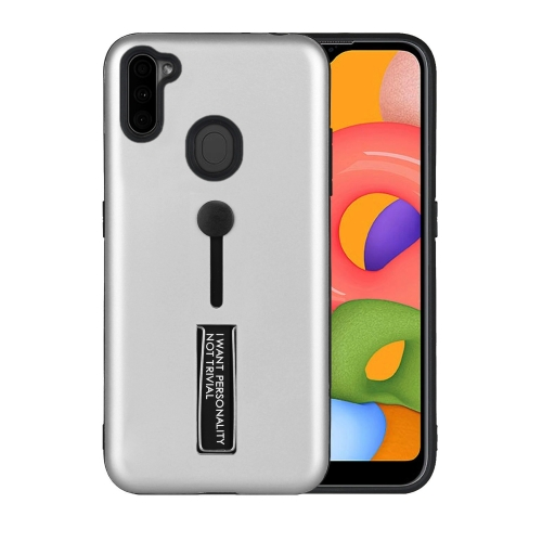 For Samsung Galaxy A11 Oil Feel Shockproof TPU + PC Protective Case with Holder(Silver)  - buy with discount