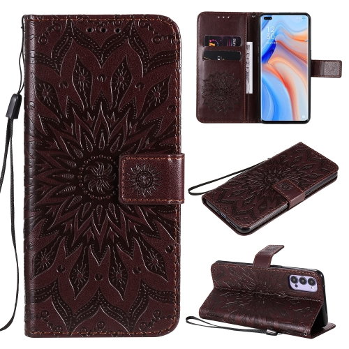 For OPPO Reno4 5G Sun Embossing Pattern Horizontal Flip Leather Case with Card Slot & Holder & Wallet & Lanyard(Brown) фото