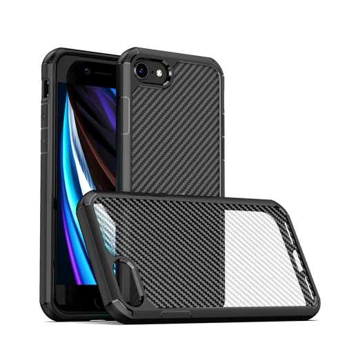 For iPhone SE 2020 / 8 / 7 iPAKY Pioneer Series Carbon Fiber Texture Shockproof TPU + PC Case(Black)  - buy with discount