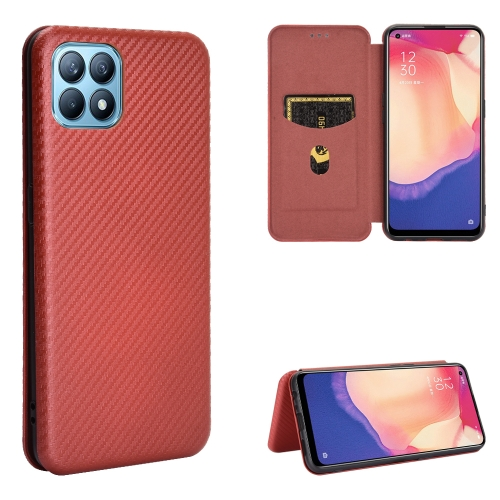 sunsky-online.com - 15% OFF by SUNSKY COUPON CODE: EDA00858001 for For OPPO Reno4 SE Carbon Fiber Texture Magnetic Horizontal Flip TPU + PC + PU Leather Case with Card Slot(Brown)