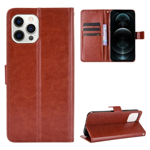 Crazy Horse Texture Horizontal Flip Leather Case with Holder & Card Slots & Wallet & Lanyard for iPhone 12 / 12 Pro(Brown)  - buy with discount