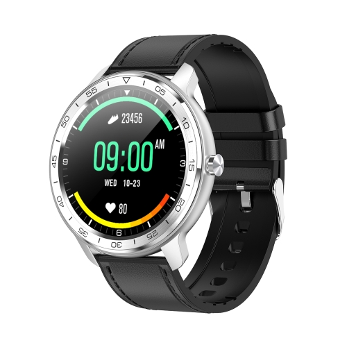 WB03 1.3 inch TFT Screen IP68 Waterproof Smart Watch, Support Sleep Monitor / Heart Rate Monitor / Blood Pressure Monitoring, Style:Silver Bezel(Black Leather Strap)  - buy with discount