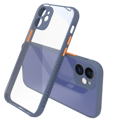 Tire Side Texture Contrast Button Shockproof PC + TPU Phone Protective Case For iPhone 12(Gray Blue)  - buy with discount