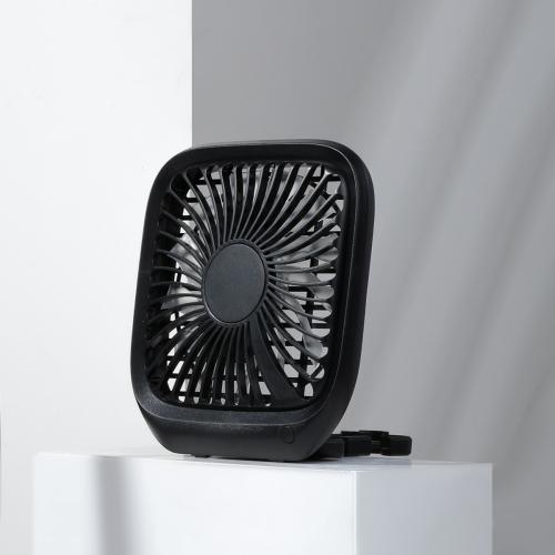 Baseus Foldable Car Backseat Fan Portable Mini Desktop Fan 3 Speed Control, with 1.5m Charging Cable(Black)