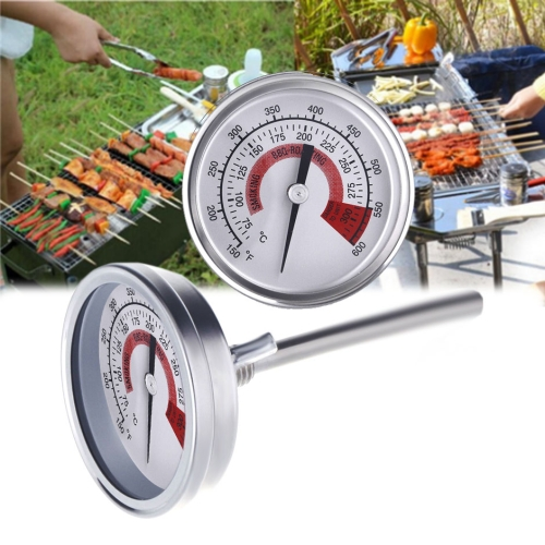Stainless Steel Oven Thermometers BBQ Smoker Pit Grill Bimetallic Thermometer Temp Gauge Cooking Tools with Dual Display & Anti-fog Glass