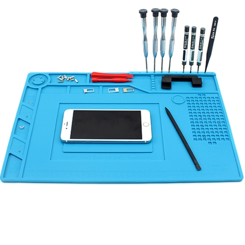 JIAFA S-150 Maintenance Platform Heat-resistant Repair Insulation Pad Silicone Mats with Screws Position(Blue) 45 30 cm anti static heat insulation silicone pad magnetic section insulation pad repair tools maintenance platform desk mat