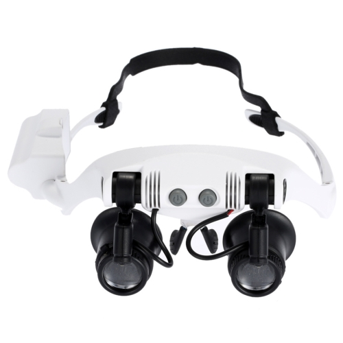 10X 15X 20X 25X Wearing Glasses Eyes Illuminated Magnifier Magnifying Watch Repairing Loupe With LED Light(White)