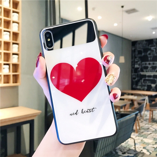 Glass Protective Case for iPhone XR(Big Heart)