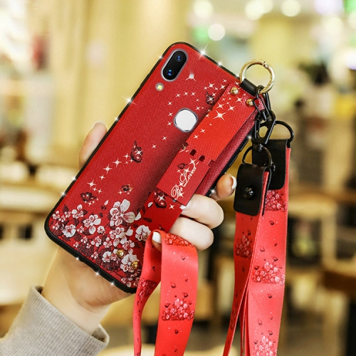 Fashion Cloth Texture TPU Protective Case with Wristband & Holder & Lanyard For Redmi Note 7(Butterfly Flower Red Pattern)