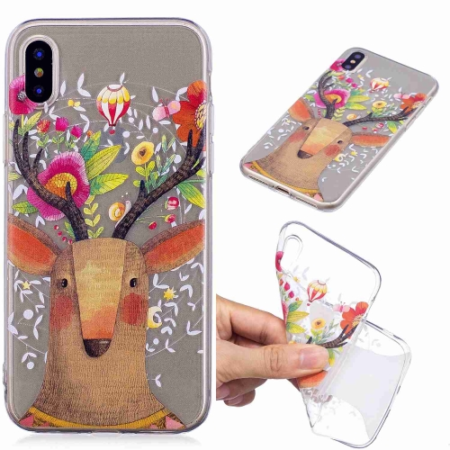 Painted TPU Protective Case For iPhone XS Max(Flower Deer)