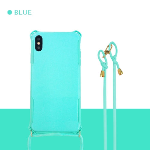 Colorful Candy Shockproof PET Back Cover+ TPU Frame Phone Protective Case With Lanyard Neck Strap Rope(Adjustable length: 113CM) For iPhone XS Max(Baby Blue)