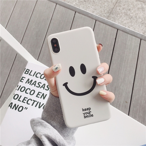 Cute Cartoon Smiley Face TPU Protective Case For iPhone XS Max(White color)