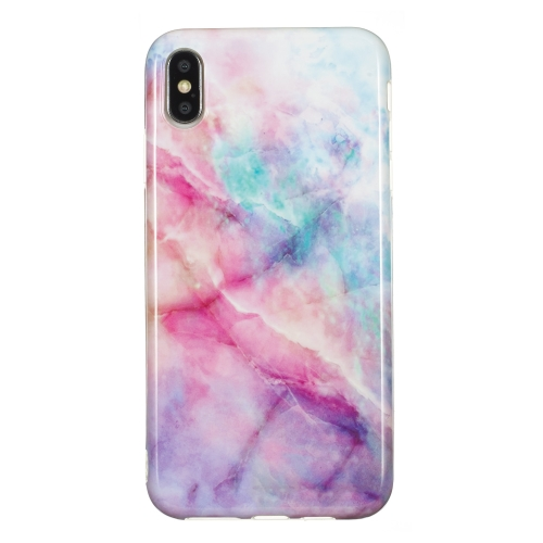 TPU Protective Case For iPhone XS Max(Pink Green Marble)