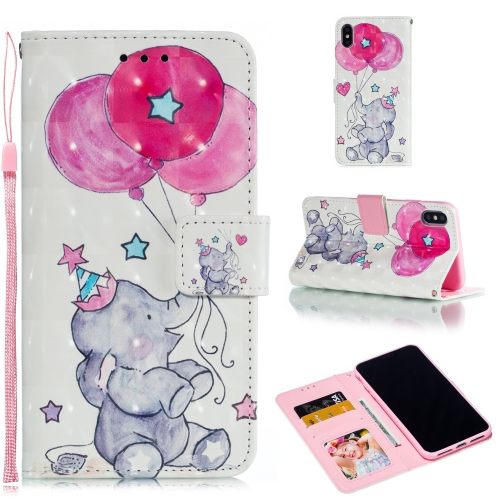 Leather Protective Case For iPhone XS Max(Elephant balloons)