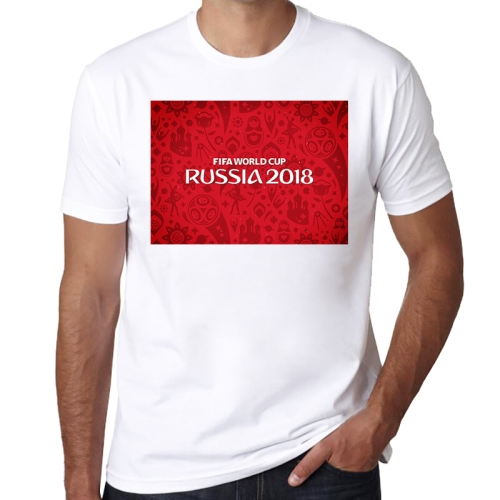 Red Background Word Pattern FIFA World Cup 2018 Russia Soccer Clothes Sport T-shirt for Male, Size: L / XL