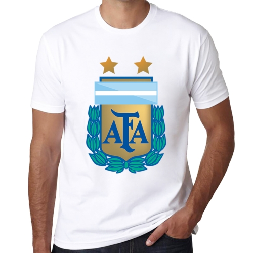 Argentina National Men Football Team Badge Pattern Soccer Clothes Sport T-shirt for Male, Size: S / M
