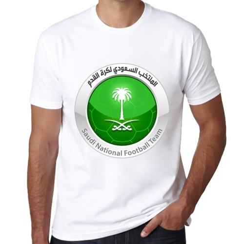 Saudi Arabia National Men Football Team Badge Pattern FIFA World Cup 2018 Soccer Clothes Sport T-shirt for Male, Size: L / XL