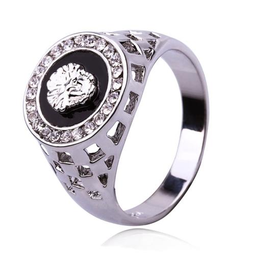 c1f7f7736514 SUNSKY - Anillo de diamantes de imitación de cabeza de león chapado ...