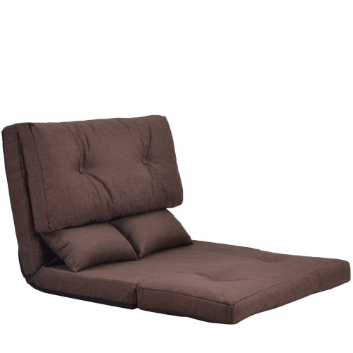 [US Warehouse] Adjustable Folding Leisure Sofa Bed with Two Pillows (Brown) фото