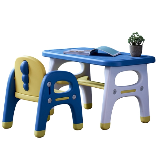 [US Warehouse] 2 in 1 Dinosaur-shaped Children Table and Chair Set(Blue)