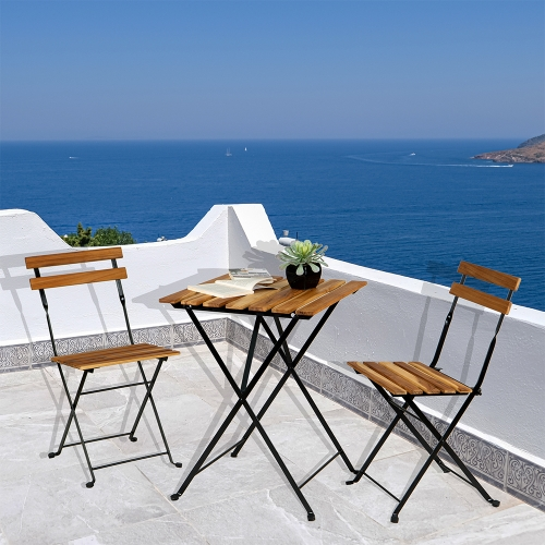 [US Warehouse] 3 in 1 Slatted Solid Wood Folding Table and Chair Set with Waterproof Cushion
