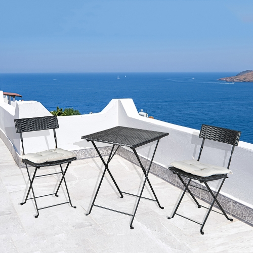 [US Warehouse] 3 in 1 PE Wicker Rattan Folding Table and Chairs Set with 2 Cushions