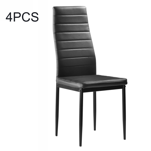 [US Warehouse] 4 PCS Sold Waterproof and Stainproof PU Leather High Back Horizontal Line Dining Chair(Black) фото