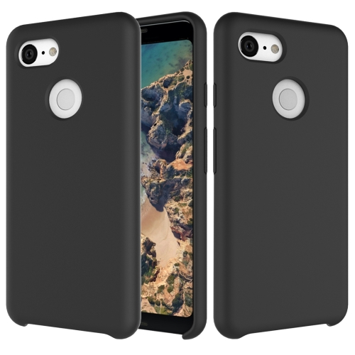 Solid Color Liquid Silicone Dropproof Protective Case for Google Pixel 3 (Black)