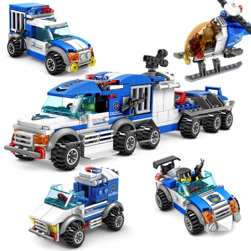 4 in 1 KAZI City Police Children DIY Enlightenment Assembled Building Blocks Educational Intelligence Toy