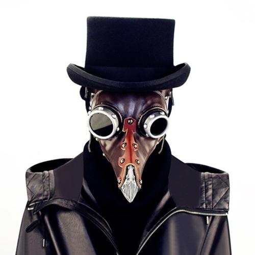 FHG103BN Halloween Metal + Leather Beak Shape Mask