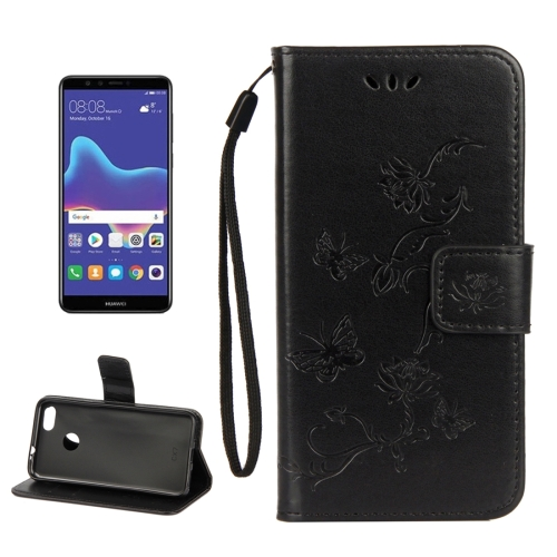 For Huawei Y9 (2018) Lotus Butterfly Pattern Horizontal Flip Leather Case with Holder & Card Slots & Wallet & Lanyard(Black)