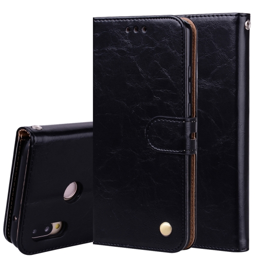 For Huawei P20 Lite Business Style Oil Wax Texture Horizontal Flip Leather Case with Holder & Card Slots & Wallet (Black)