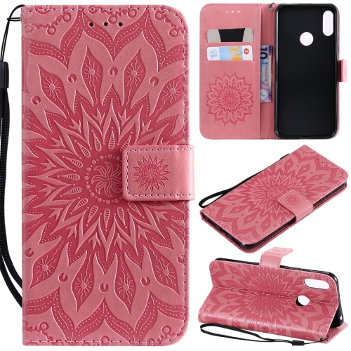 Sun Embossing Pattern Horizontal Flip Leather Case for Huawei Honor Play 8A / Y6 (2019), with Card Slot & Holder & Wallet & Lanyard (Pink)