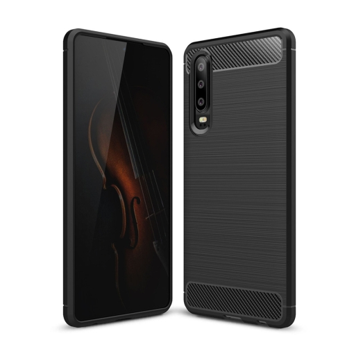 Brushed Texture Carbon Fiber Shockproof TPU Case for Huawei P30 (Black)