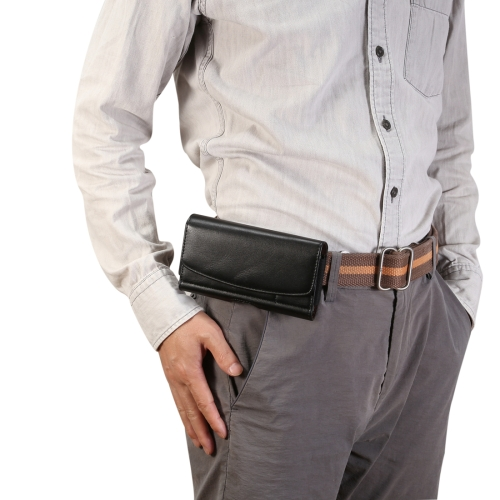 Men Lambskin Texture Multi-functional Universal Mobile Phone Waist Pack Leather Case for 6.9 Inch or Below Smartphones, with Card slot (Black)