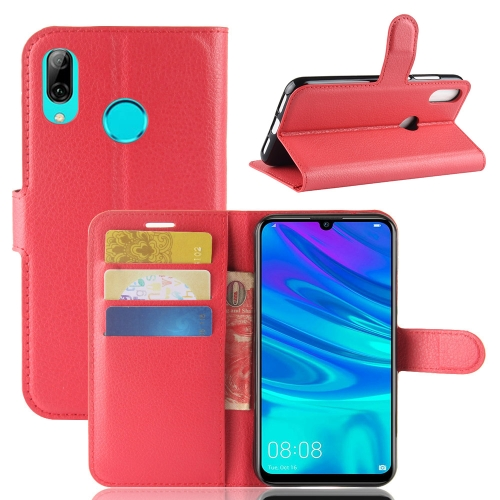 Litchi Texture Horizontal Flip Leather Case for Huawei Y7 2019, with Wallet & Holder & Card Slots (Red)