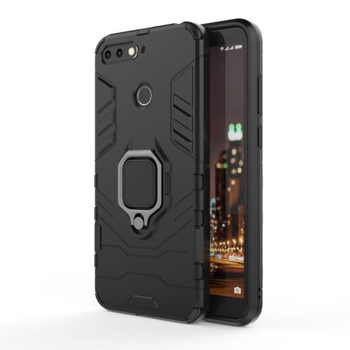 PC + TPU Shockproof Protective Case for Huawei Honor 7A, with Magnetic Ring Holder (Black)