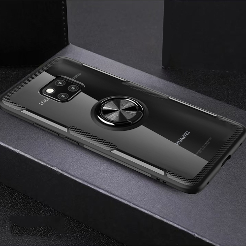 Scratchproof TPU + Acrylic Ring Bracket Protective Case for Huawei Mate 20 Pro(Black)