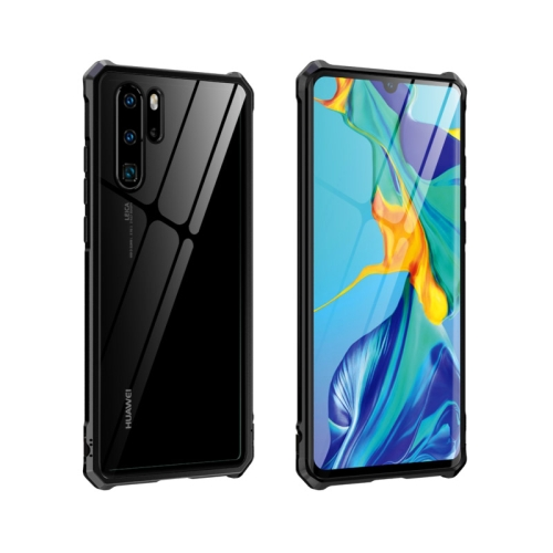 Buckle Series Metal Frame + Tempered Glass Protective Case for Huawei P30 Pro(Black)