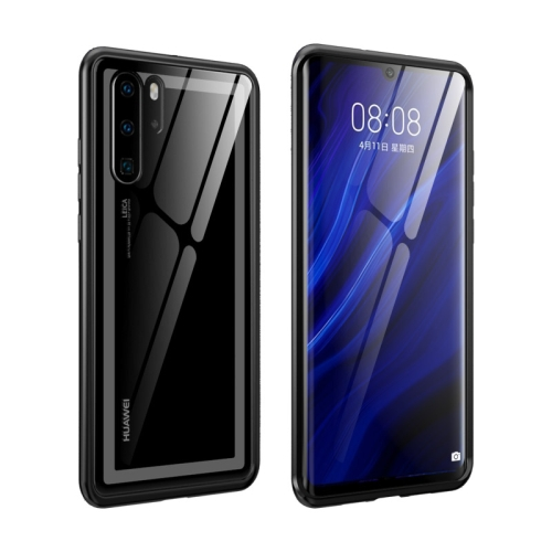 Arc Series Metal Frame + Tempered Glass Protective Case for Huawei P30 Pro(Black)