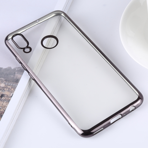 Ultra-thin Electroplating Soft TPU Protective Back Cover Case for Huawei P Smart (2019) / Honor 10 Lite (Black)